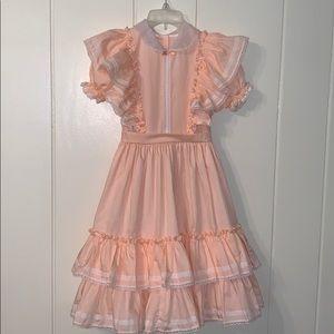 Vtg Lilo of California peach & lace dress